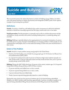 Suicide and Bullying Issue Brief