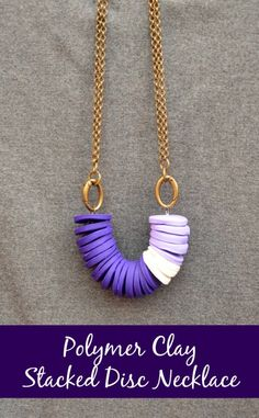 How to make a Polymer Clay Stacked Disc Necklace by One Artsy Mama! #tutorial #jewelry #howto