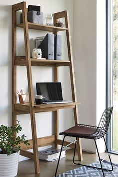 Buy Bronx Ladder Desk from the Next UK online shop Desks For Small Spaces, Small Home Offices, Home Office Desks, Ladder Desk, Bookcase Shelves, Desk Bookshelf Combo, Ladder Shelving Unit, Desk In Living Room, Bedroom Desk