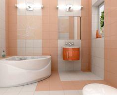 Light orange tile for wall small bathroom color