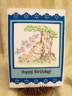 OOAK Penny Black Stamp Happy Birthday Bear by ScrapityAnne on Etsy, $3.50