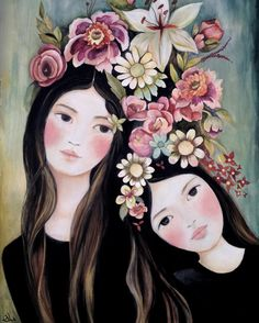 Art print sisters best friends  spring in by PrintIllustrations, $20.00