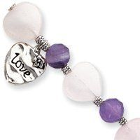 Love Heart Rose Quartz Amethyst Bracelet - 7.5 Inch - Toggle - JewelryWeb JewelryWeb. $40.10. Save 50%!