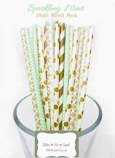 Mint and Gold Baby Shower Mint Paper Straws Mint by GlitterMeSweet