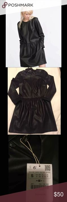 NWT ZARA FAUX LEATHER 3/4 SLEEVE DRESS - S NWT ZARA TRAFALUCA LEATHER DRESS. Labeled Small but could easily fit a petite medium. There is a baginess to the dress but very chic. Retail: $98 Zara Dresses