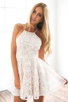 Halter Party Dress, Ivory Prom Dress, Short Evening Dress, Simple A-Line Evening Dress 0623 - Source by rayanhadid - Ivory Prom Dresses, Hoco Dresses, Dance Dresses, Pretty Dresses, Fancy White Dresses, White Lace Dress Short, White Homecoming Dresses, White Mini Dress, Mini Dresses