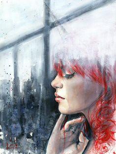 Beautiful watercolor portrait paintings by Russian artist Tanya Shatseva.