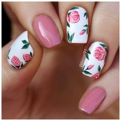 My new nails for today I did a little floral pattern inspired by Tartofraises (Ophlie) design I found on Pinterest The pinkish polish used is by @kineticsnailsystems called Spotlight Fail. White one is by @essence_cosmetics and the rest is hand drawn with Liquitex acrylic paint and a bush by @winstonia_store called Rose Noire❤
