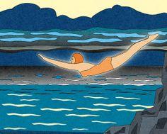 Art illustration numérique. Impression numérique 8X10. La  plongeuse.