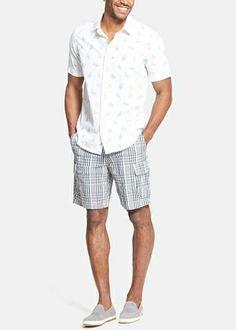 Effortless summer ensemble | Fun beach chair print shirt and plaid cargo shorts