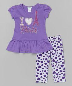 Look what I found on #zulily! Purple 'Paris' Top & Heart Leggings - Toddler & Girls #zulilyfinds