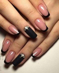 Beautiful winter nails, Beyonce nails, Black french manicure, Black lacquer nails, Black nails with Black Nails, White Nails, Pink Nails, My Nails, Fall Nails, Black French Nails, French Hair, French Beauty, Matte Black