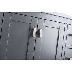 "Laviva Wilson 42"" Cabinet with White Carrara Countertop – EZ Vanities Black Sink, White Sink, Shaker Style Cabinets, Grey Cabinets, Single Vanities, Single Bathroom Vanity, Matte Black, Inside Cabinets, Porcelain Sink"
