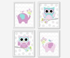 Baby Girl Nursery Wall Art Purple Lavender by DezignerheartDesigns