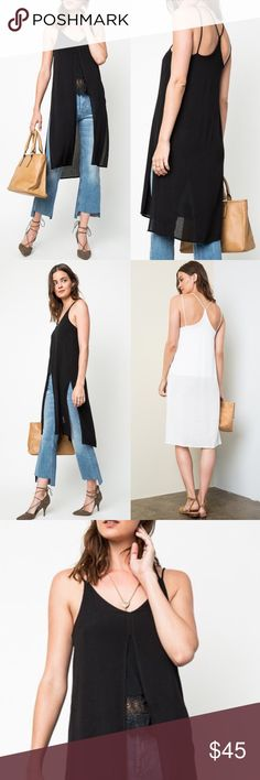 MARIANNA long slit vneck tank - BLACK Long Slit Tank Fabric 100% RAYON. Can be worn with shorts, skirts, leggings or really any bottom. Side slit & front slit. NO TRADE, PRICE FIRM Bellanblue Tops Blouses