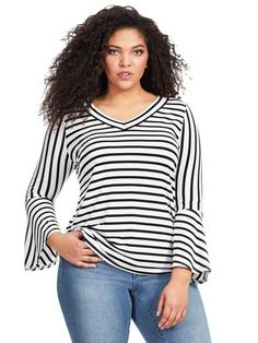 Plus Size INC INTERNATIONAL CONCEPTS Stripe Bell Sleeve Top