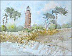 Leuchtturm Darßer Ort - Aquarell - 24 x 30 cm - Original - Landschaft