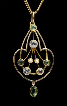 This is not contemporary - image from a gallery of vintage and/or antique objects. ART NOUVEAU  Pendant  Gold Peridot Aquamarine Pearl