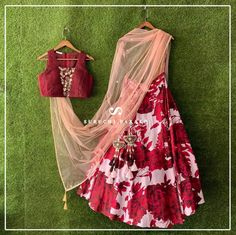 Red rose floral lehenga skirt with maroon crop top by Suruchi Parakh. Click on picture to see lehenga price. #Frugal2Fab