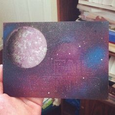 My fourth and final attempt at spray paint planets for today. These are practice for a five foot by five foot project I'm working on and I'm pretty pleased with them. I was originally going to peel the letters off but decided not to. I like the subtle message more. This could use more shading on the right but I don't want to muck with it anymore.