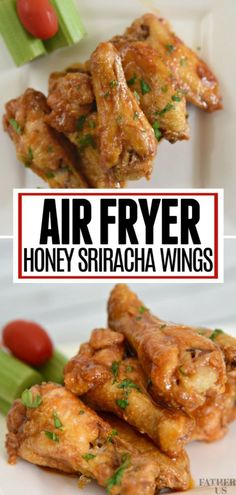 Sweet and spicy combine together to make these tasty Honey Sriracha Chicken Wings. Made in your Air Fryer, they use very little oil and are much healthier than traditionally fried wings. A great game day snack recipe or tailgating food. Air Fryer Chicken Wings, Fried Chicken Wings, Chicken Meatballs, Chicken Tacos, Chicken Salad, Tailgating Recipes, Tailgate Food, Honey Sriracha Chicken Wings, Sriracha Recipes