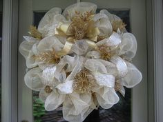 Gold and Cream Poly Deco Mesh Wreath with by rachelsbythecreek, $155.00