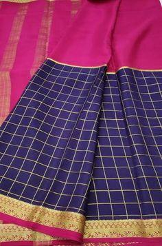 Details Mysore silk saree are world renowned saree. Karnataka, silk is mainly produced in the... Crepe Silk Sarees, Silk Dupatta, Silk Crepe, Blue Fabric, Silk Fabric, Woven Fabric, Mysore Silk Saree, Blue Check, Karnataka