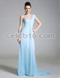$179.99 Lara Spencer Empire One Shoulder Sweep/ Brush Train Capped Chiffon Matte Satin Emmy/ Evening Dress