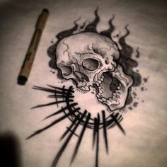 neo traditional skull tattoo - Google Search