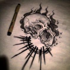 neo traditional skull tattoo - Google Search