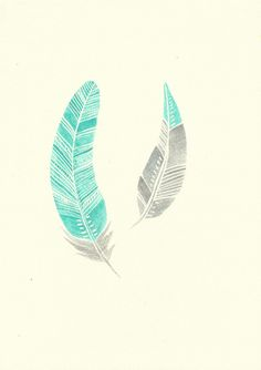 Mint Turquoise Aqua and Grey Modern Boho Feather Watercolour Painting - Original Modern Art - Home Decor