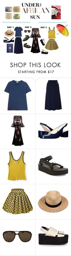"""""""Vacay Goals"""" by rococo-p ❤ liked on Polyvore featuring Therapy, RE/DONE, Courrèges, Jovani, L.K.Bennett, Aéropostale, Teva, Lack of Color, Lanvin and Marni"""
