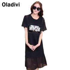 Find More Dresses Information about Black Casual Women Dress Patchwork Cute Girl Street Wear Rommy Style 2016 Summer New Plus…