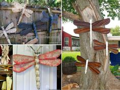Table Leg and Ceiling Fan Blade Dragonflies Tutorial Fan Blade Dragonfly, Dragonfly Yard Art, Garden Crafts, Garden Projects, Garden Art, Easy Garden, Garden Totems, Garden Junk, Herb Garden