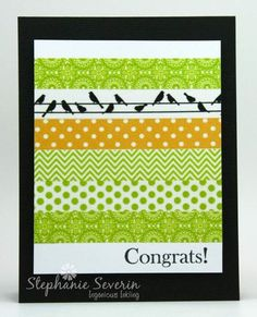 handmade card ...  washi tape id greens white a birds on a line tape near the top ... clean and simple look full of patterns ...