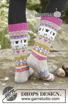 """Вязаные спицами носки с жаккардовым узором """"Сонные овечки"""""""