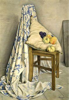 """François-Emile Barraud (1899-1934) """"Toile de Jouy"""" Oil on canvas, 1931."""