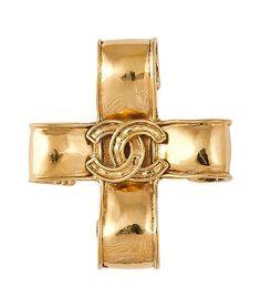Golden CC Ribbon Cross Pin