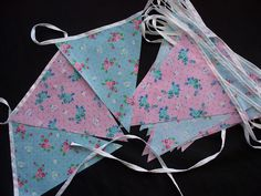 10 meters wedding day party bunting aqua rose and pink rose 18cm x 20cm code st