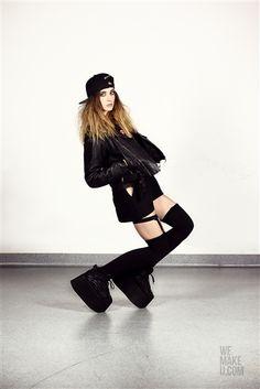 TOMBOY IS BLACK // PHOTOSHOOT // WEMAKEU.COM  //  http://wemakeu.com/2013/02/19/tomboy-is-black-photoshoot/  | #tomboy #is #black #fullcap #leather #jacket #buffalo #socks #high #ac/dc #t-shirt #swimsuit