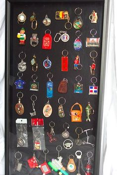 key chains: cheap and cool keepsake  | 20 Ways To Display Keepsakes From Your Travels And Trips