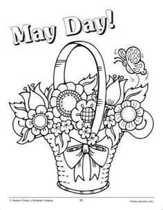 May Day Maypole Celebration Coloring Page Printables for Kids