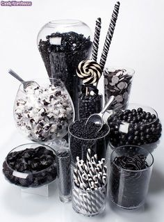 Rock Candy Chewy Nuggets - Black Cherry: Tub Rock Candy Chewy Nuggets – Black Cherry: Tub Love this black and white candy bar idea! Black White Parties, Black And White Theme, Black And White Party Decorations, All Black Party, White Decor, Candy Table, Candy Buffet, Dessert Buffet, Lolly Buffet
