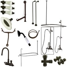 Kingston Brass Vintage High Rise Gooseneck Clawfoot Tub & Shower Package with Porcelain Lever Handles, Oil Rubbed Bronze Clawfoot Tub Shower, Tub And Shower Faucets, Bathroom Faucets, Bathtub, Vintage Tub, Porcelain Sink, Porcelain Jewelry, Fine Porcelain, Kingston Brass