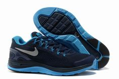 Mens Nike Lunarglide 4 Midnight Navy Reflective Silver Blue Glow Shoes [Tiffany Free Runs 735]-$58.78