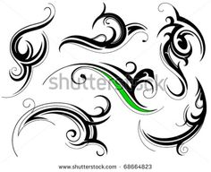 Set of decorative shapes with floral elements - stock vector