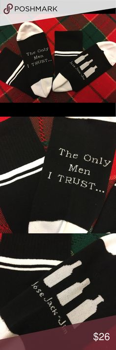 The Only Men I Trust.... funny socks Brand new... Sealed in original plastic. O/S I only have ONE PAIR.  Material: cotton/polyester Accessories Hosiery & Socks
