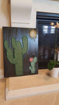 Cactus String Art Wood Decor