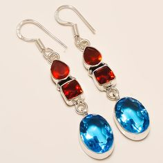 Daily Deals 925 Silver Jewelry Granet - Blue Topaz Gemstone Designer Earrings #Handmade #DropDangle