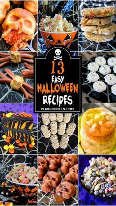 13 Easy Halloween Party Recipes - the best of the best Halloween themed recipes. No-bake recipes, cookies, main dishes, and desserts. Perfect for all of your upcoming Halloween parties and Fall Festivals! Halloween Themed Food, Hallowen Food, Halloween Treats For Kids, Halloween Appetizers, Halloween Dinner, Halloween Food For Party, Halloween Desserts, Holidays Halloween, Desert Recipes